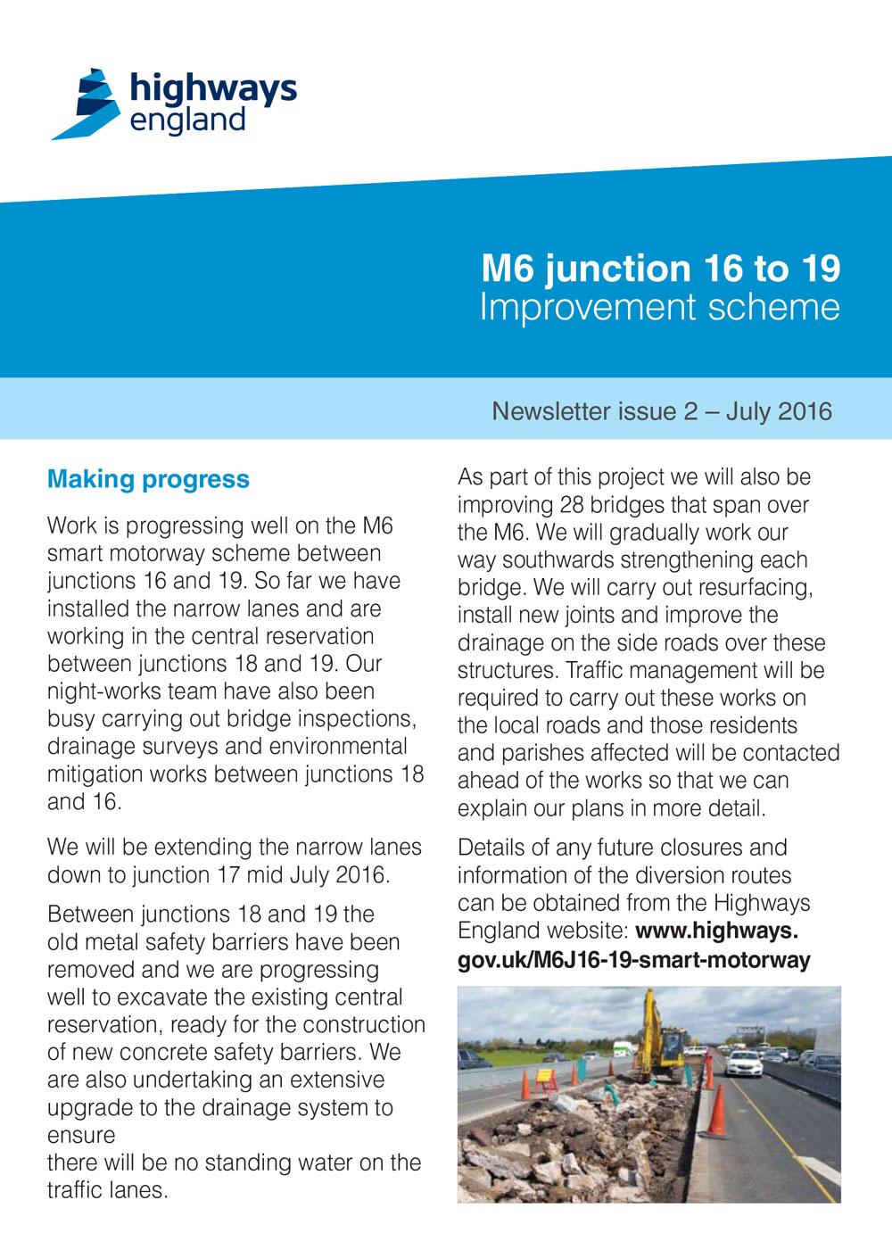 M6 Junction 16-19 Smart Motorway July Newsletter