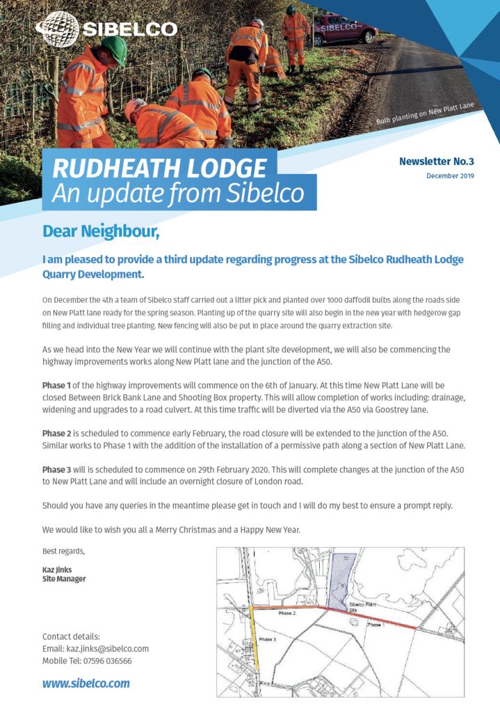 Sibelco Rudheath Lodge Newsletter No.3