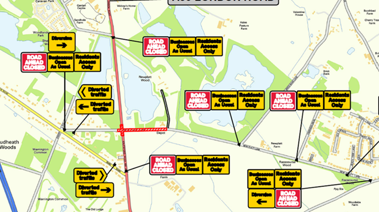 map of road closures and diversion.