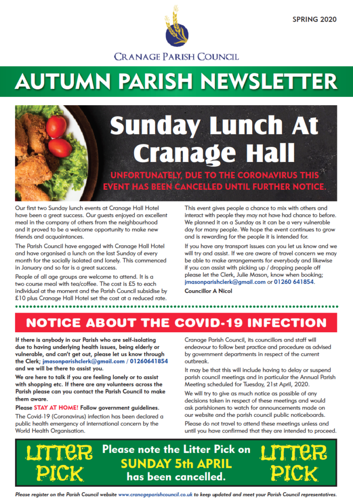 Cranage Autumn Parish Newsletter