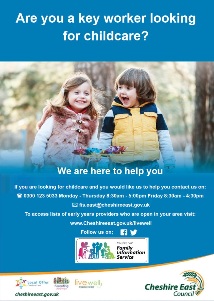 Poster 'Are you a key worker looking for childcare?'