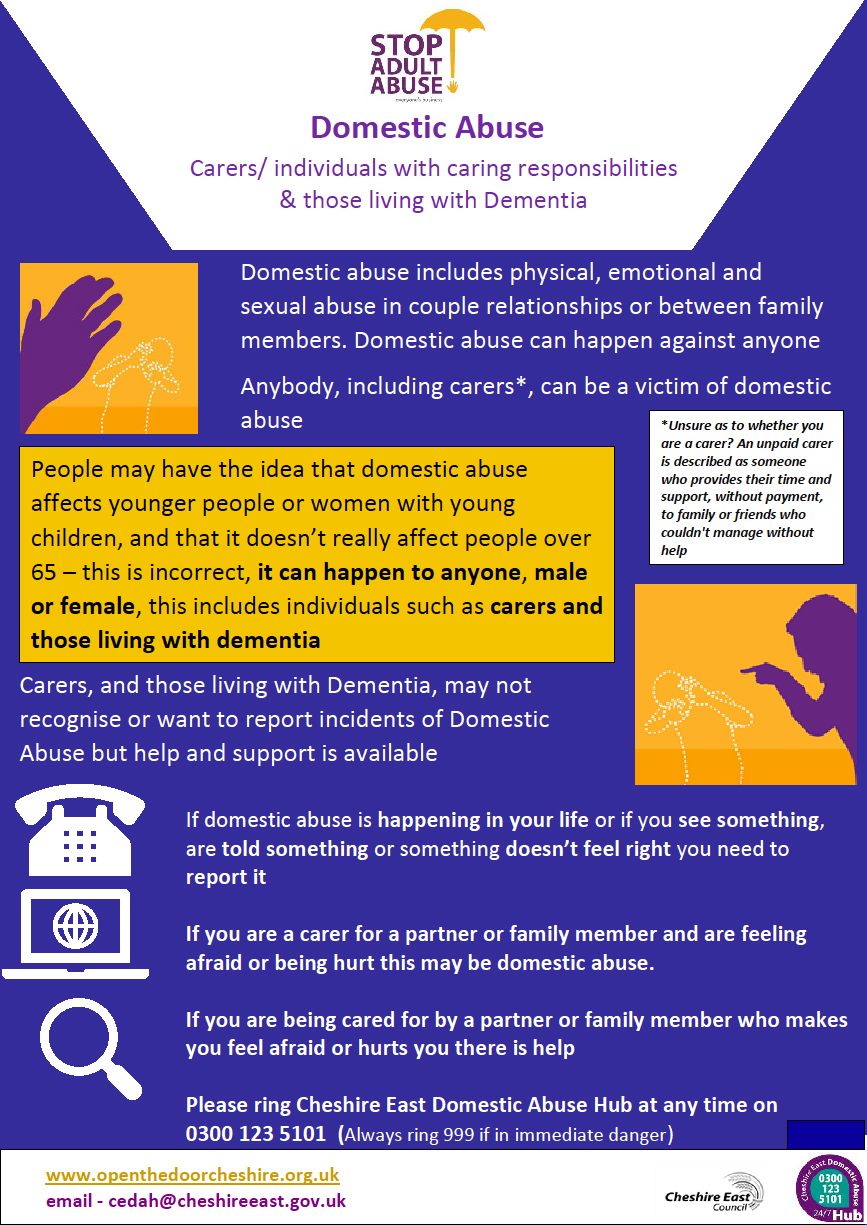 Adult Safeguarding Domestic Abuse Guidance and Dementia / Carers Awareness Leaflet