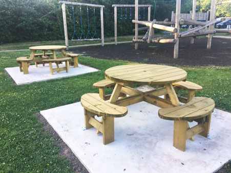 Cranage play area picnic benches
